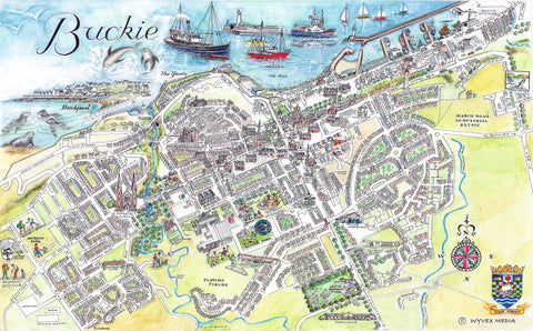 Buckie Quality Giclee A3 Printed Map