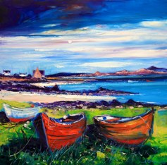 Jolomo Card - Beached boats Isle of Iona