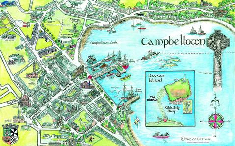 Framed Campbeltown Tourist Map Print 65 x 43.5 cm Limited Edition