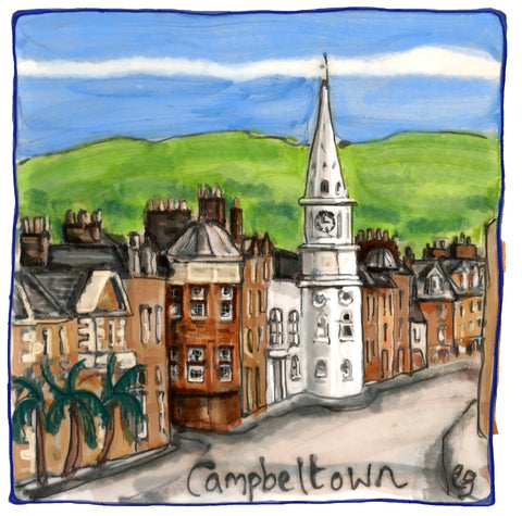 Campbeltown Main Street & Town Hall By Elspeth Gardner