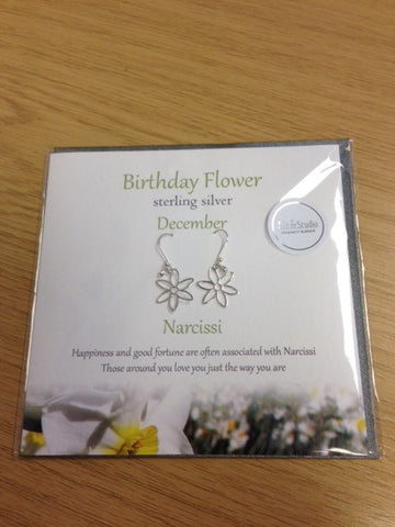 Sterling Silver Birthday Flower Earings - December - Narcissi