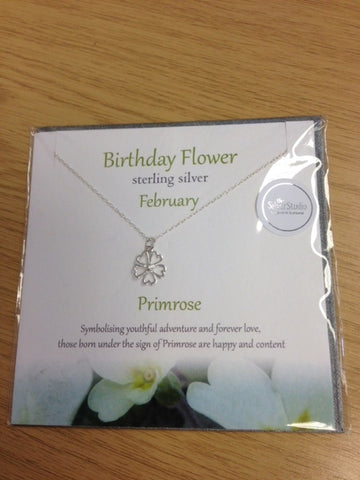 Sterling Silver Birthday Flower  Necklace - February - Primrose
