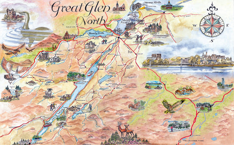 Great Glen North Quality Giclee A3 Printed Map