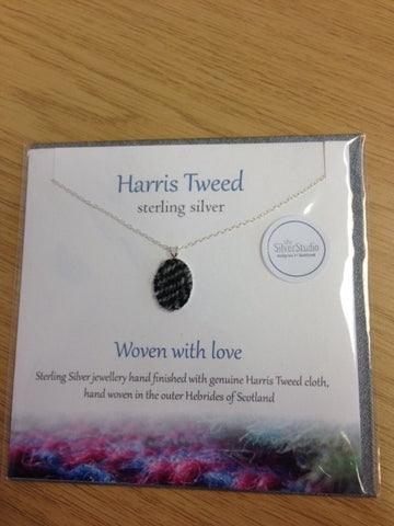 Harris Tweed Necklace-Black and Grey Tweed