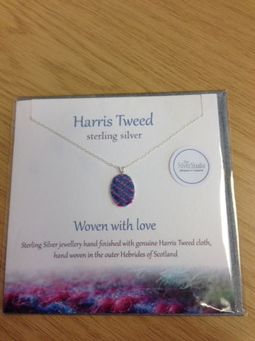 Harris Tweed Necklace-Blue and Pink Tweed
