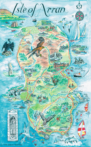 Arran Tourist Map Tea Towel