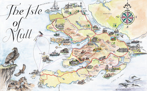Isle of Mull Tourist Map Tea Towel