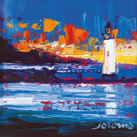 Jolomo Card - Sunset, Rhuba Nan Gall Light, Tobermory
