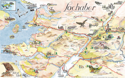 Lochaber Tourist Map Tea Towel