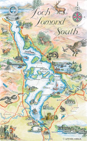 Loch Lomond Tourist Map Tea Towel