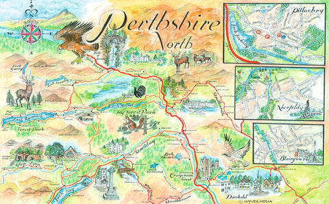 Perthshire North Quality Giclee A3 Printed Map