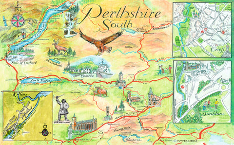 Perthshire South Quality Giclee A3 Printed Map