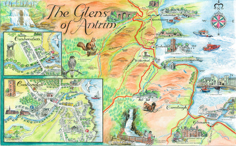 The Glens Of Antrim Quality Giclee A3 Printed Map