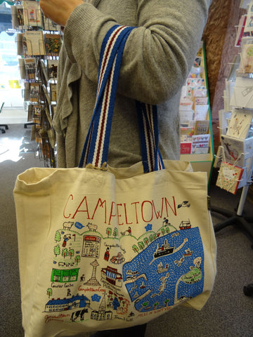 Campbeltown Landmarks Tote Bag (Stripe handle)