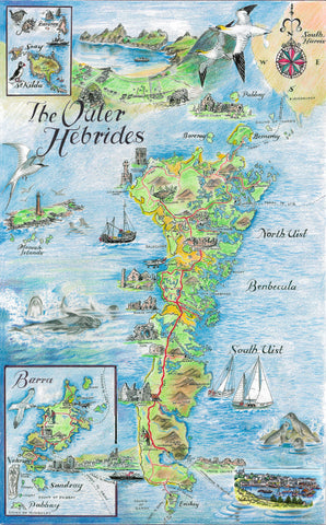 Western Isles South Quality Giclee A3 Printed Map