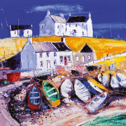 Jolomo Card - Beached Boats at Portnahaven, Isle of Islay