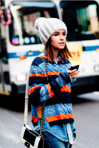 e22fb86d9547c Neon Knits  add a bright neon beanie to your black outfit to light up a  grey winter day.