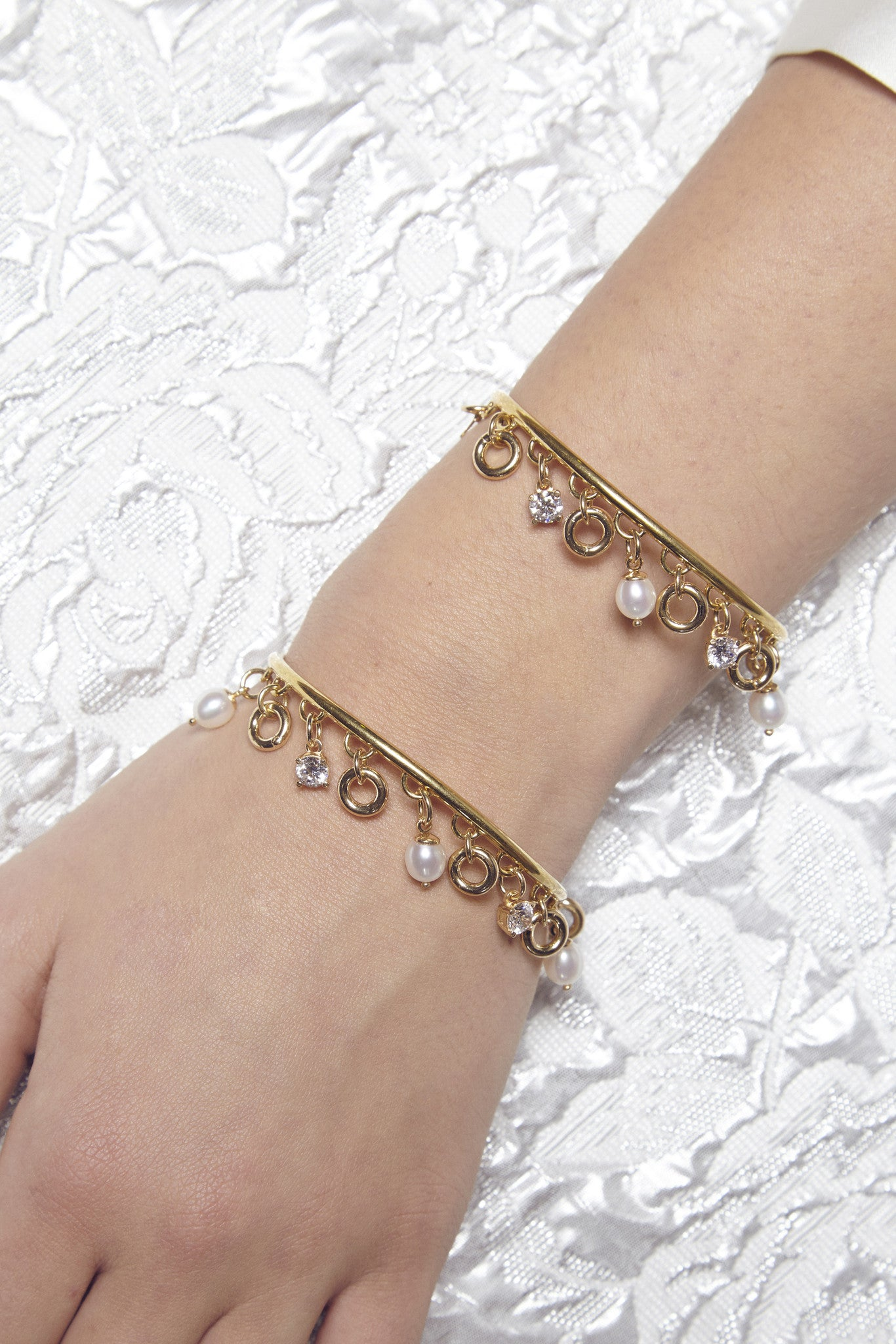 'PRINCESS OF PEARLS' CUFF BRACELET WITH PEARL CHARMS