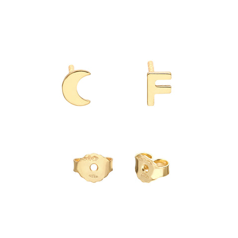 YOUR INITIAL+MOON STUD EARRINGS