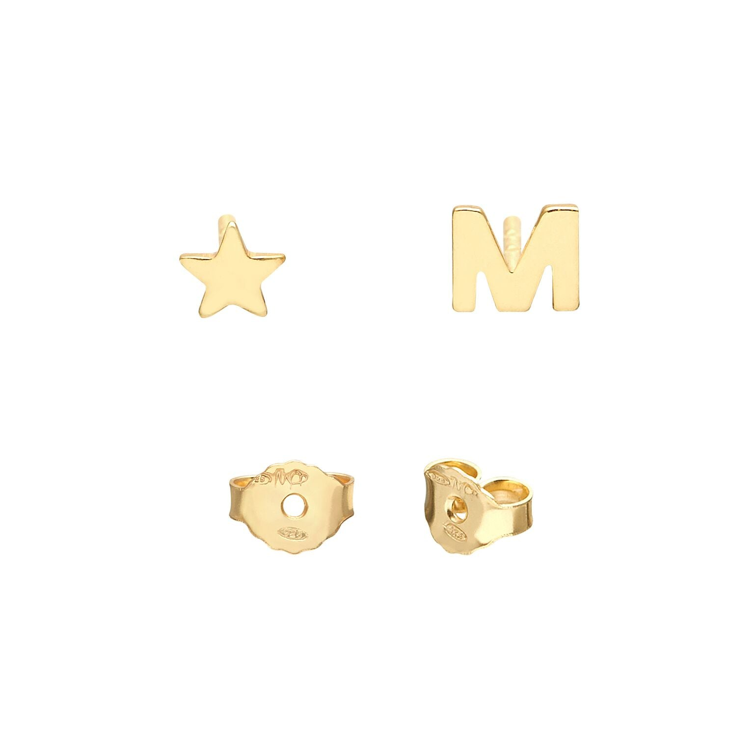 YOUR INITIAL+STAR STUD EARRINGS
