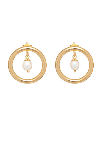 'PRINCESS OF PEARLS' FLAT HOOPS WITH PEARL CHARMS