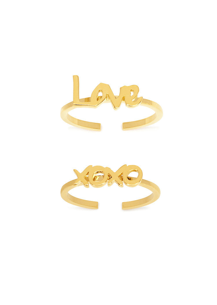 'LOVE XOXO' MIDI RINGS SET