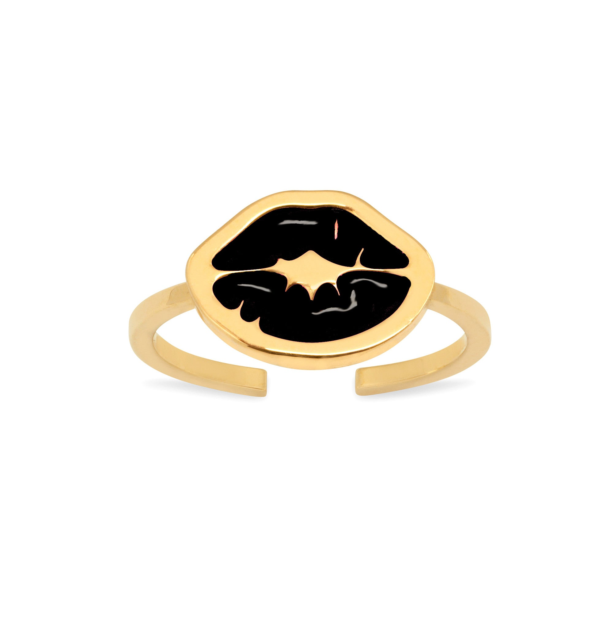 'PUNK KISS' MIDI RING WITH CHARM