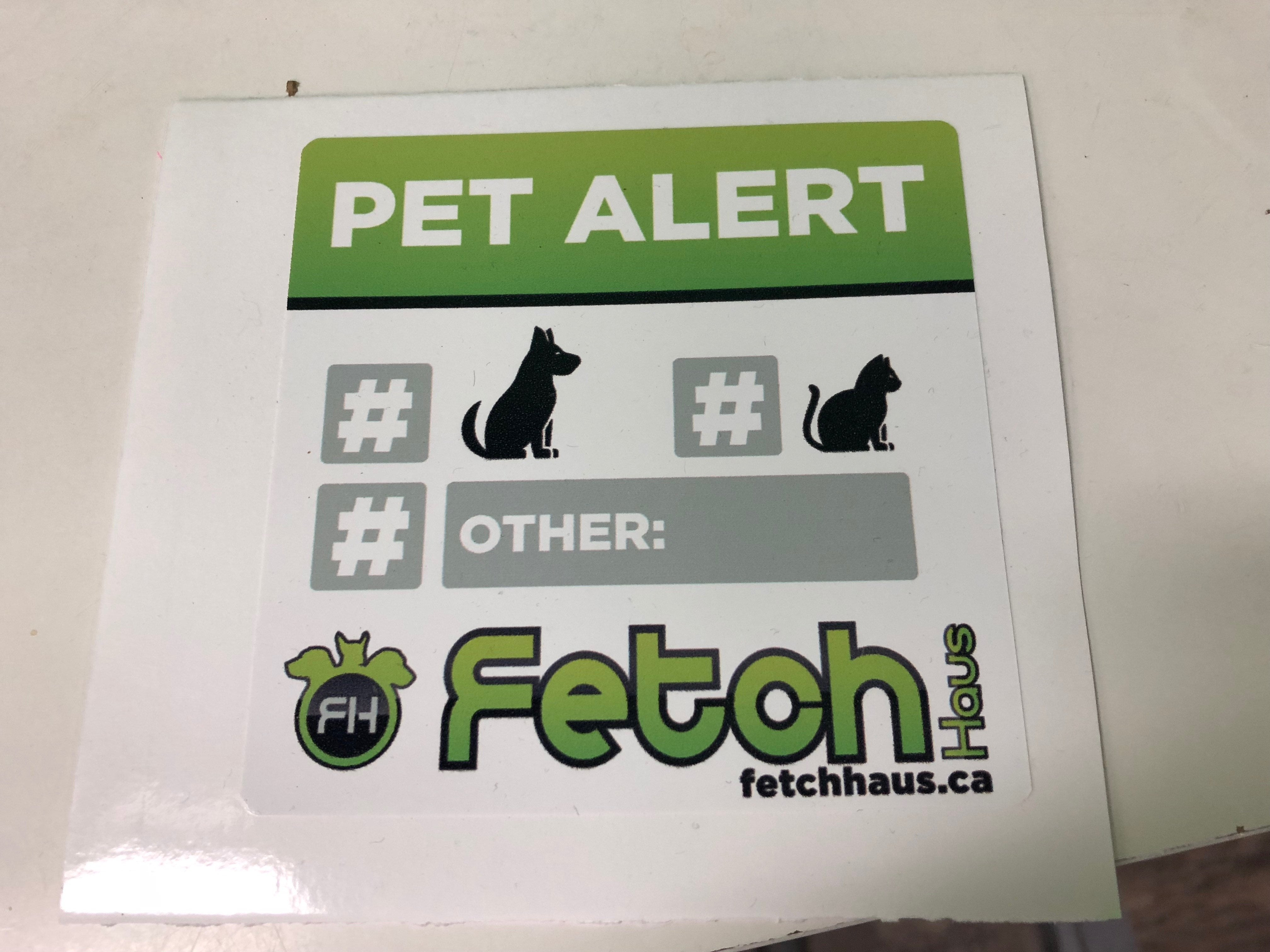 Pet Alert Decal