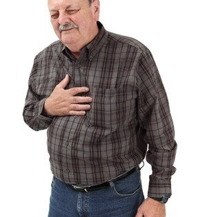 Elderly man Clutching his chest