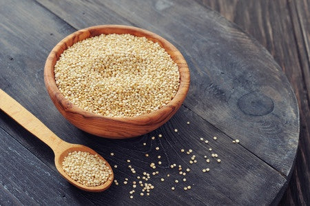 quinoa in wooden bowl