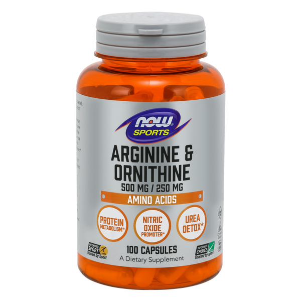 Now Foods Arginine & Ornithine 500 mg / 250 mg - 100 Capsules - Health As It Ought to Be