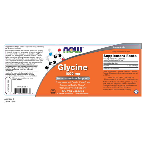 Now Foods Glycine 1000 mg - 100 Veg Capsules - Health As It Ought to Be