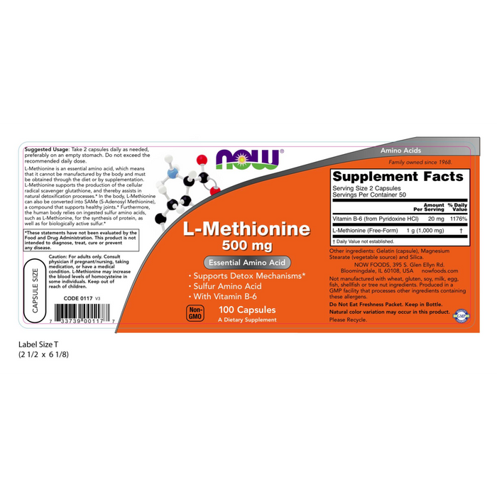 Now Foods L-Methionine 500 mg - 100 Capsules - Health As It Ought to Be