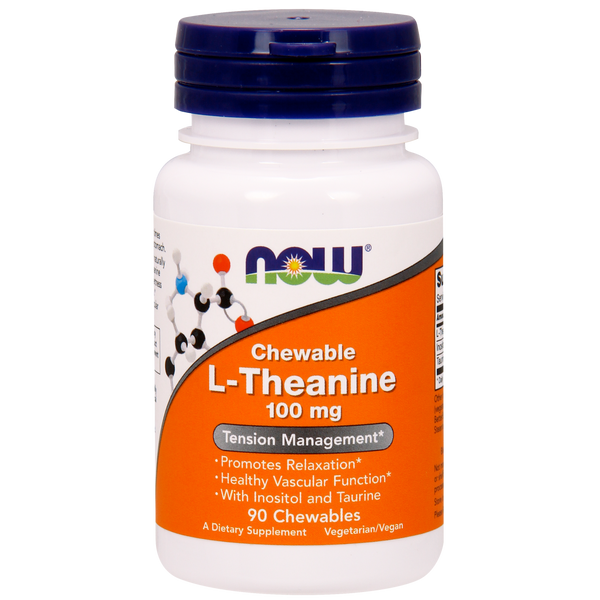 Now Foods L-Theanine 100 mg - 90 Chewables - Health As It Ought to Be