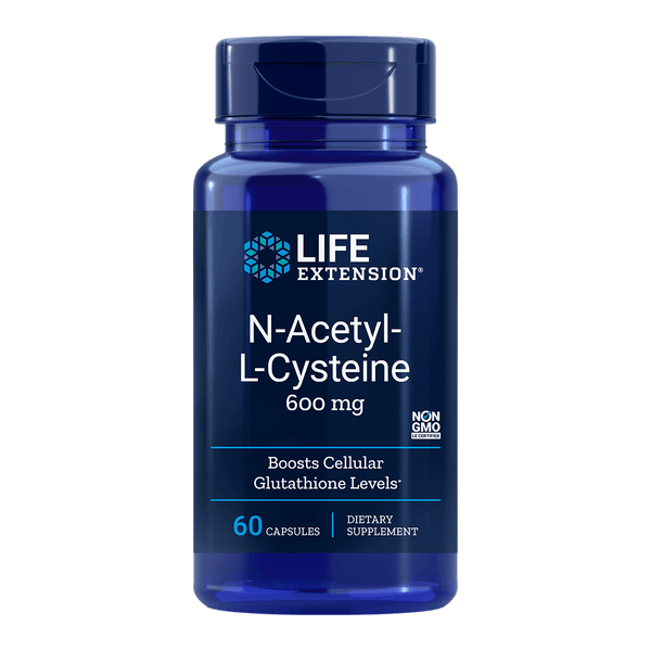 Life Extension N-Acetyl-L-Cysteine 600 mg - 60 Vegetarian Capsules - Health As It Ought to Be