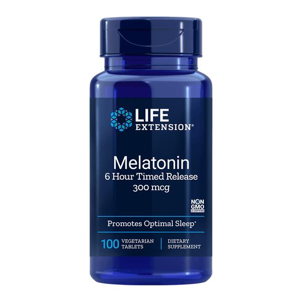 Life Extension Melatonin 6 Hour Timed Release 300 mcg - 100 Vegetarian Tablets - Health As It Ought to Be