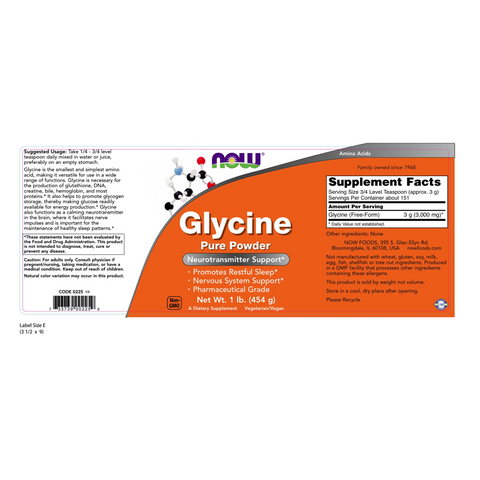 Now Foods Glycine Pure Powder - 1 lb. - Health As It Ought to Be