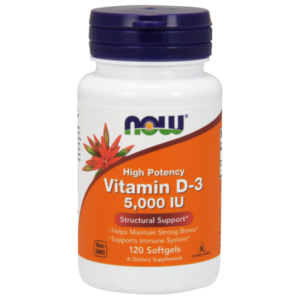 Now Foods Vitamin D-3 5000 IUs - 120 Softgels - Health As It Ought to Be