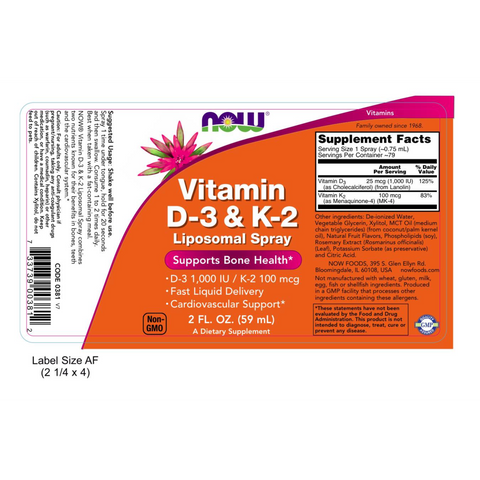 Now Foods Vitamin D-3 & K-2 Liposomal Spray - 2 oz. - Health As It Ought to Be