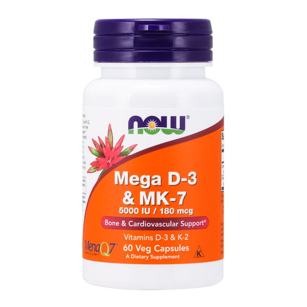 Now Foods Mega D-3 & MK-7 - 60 Veg Capsules - Health As It Ought to Be