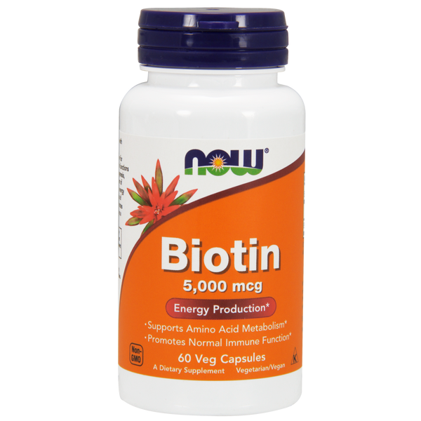 Now Foods Biotin 5000 mcg - 60 Veg Capsules - Health As It Ought to Be