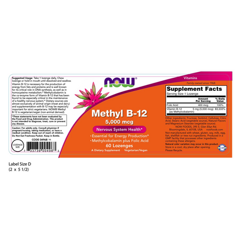 Now Foods Methyl-B12 5000 mcg - 60 Lozenges - Health As It Ought to Be