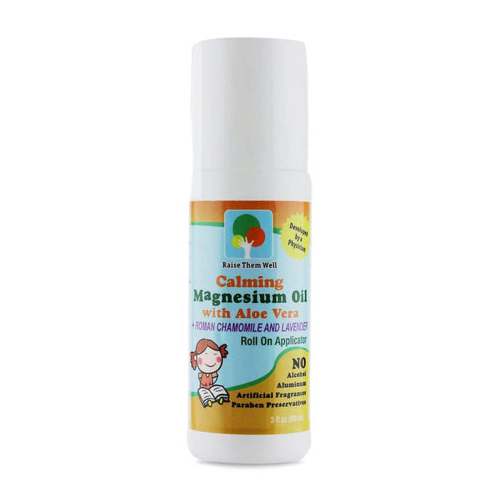Raise Them Well Kid Safe Calming Magnesium Oil Roll-On with Roman Chamomile and Lavender Essential Oils - 89 ml - Health As It Ought to Be