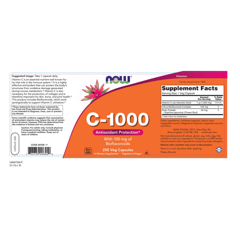 Now Foods Vitamin C 1000 mg - 250 Capsules - Health As It Ought to Be