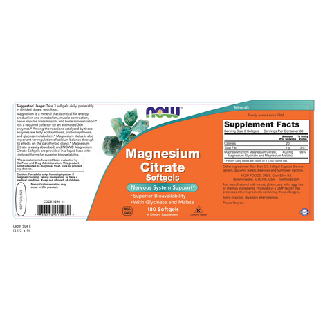 Now Foods Magnesium Citrate 400 mg - 180 Softgels - Health As It Ought to Be