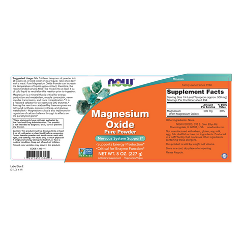 Now Foods Magnesium Oxide Pure Powder 400 mg - 8 oz. - Health As It Ought to Be