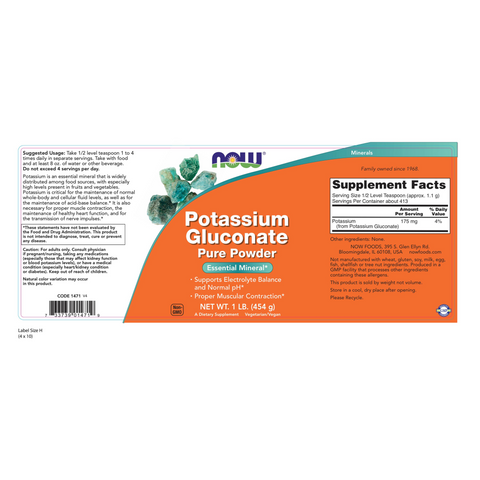 Now Foods Potassium Gluconate Powder - 1 lb. - Health As It Ought to Be