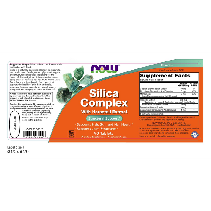 Now Foods Silica Complex with Horsetail Extract - 90 Tablets - Health As It Ought to Be