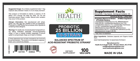 HAIOTB Probiotic (10-Strain) 25 Billion CFUs - 100 Veggie Caps - Health As It Ought to Be