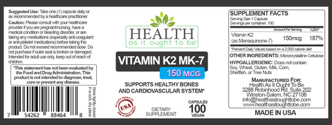 HAIOTB Vitamin K2 MK7 150 mcg Supplement - 100 Vegan Capsules - Health As It Ought to Be